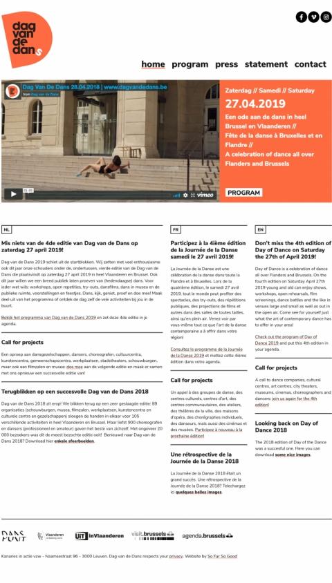 Dag van de Dans, a web project by Nordicmaterial